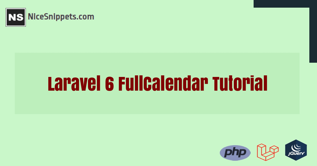 Laravel 6 FullCalendar Tutorial