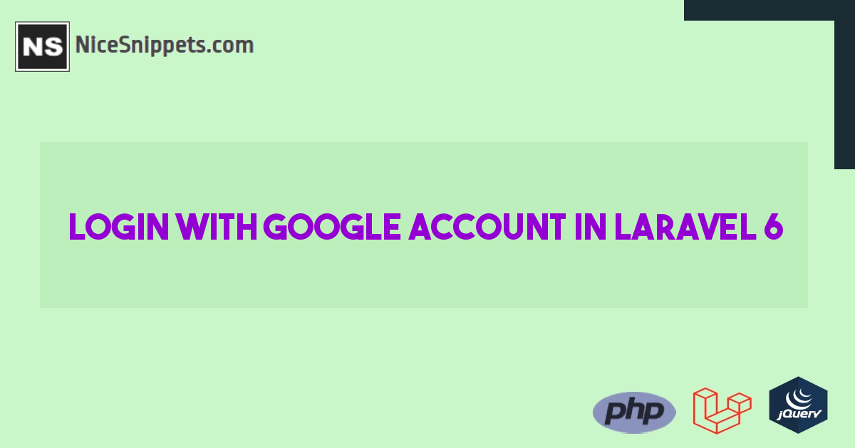 Laravel 6 Login with Google Account Example