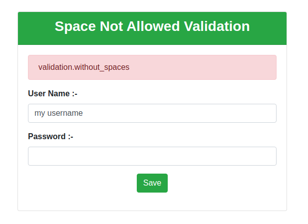 no space allowed validation in Laravel