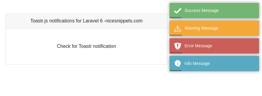 Laravel 7/6  Toastr Notifications using yoeunes/toastr package