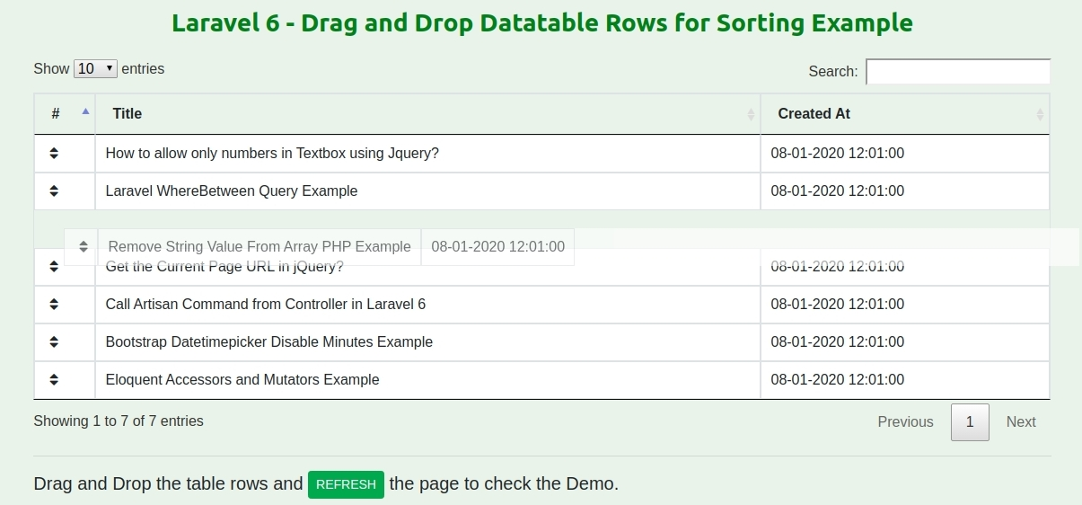 Laravel 6 - Drag and Drop Datatable Rows for Sorting Example