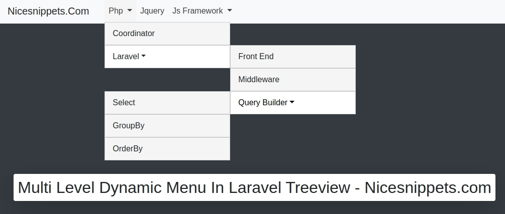 How to Create Multi Level Dynamic Menu In Laravel  Treeview