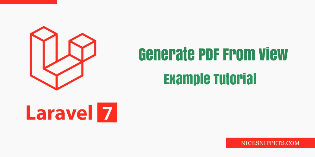 Laravel 7 Generate PDF From View Example Tutorial