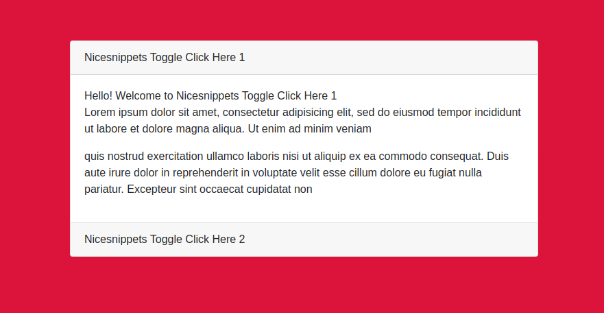 React Bootstrap Div Toggle Example