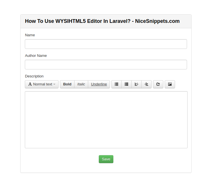 How To Use WYSIHTML5 Editor In Laravel?