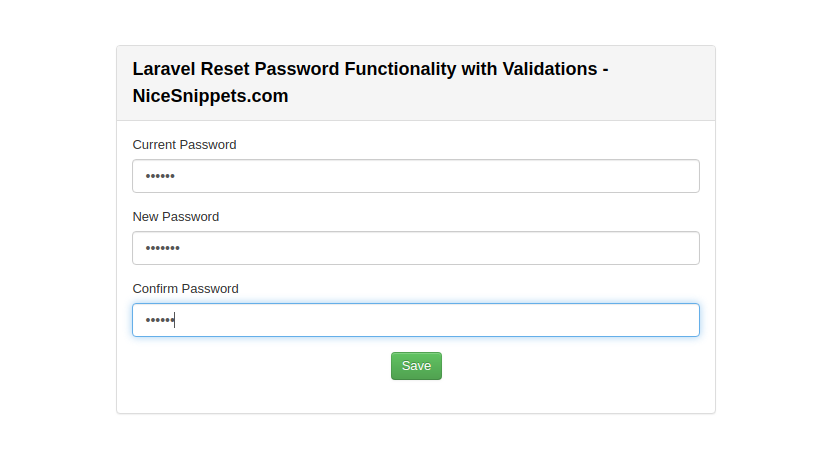 Laravel Reset Password Functionality with Validations