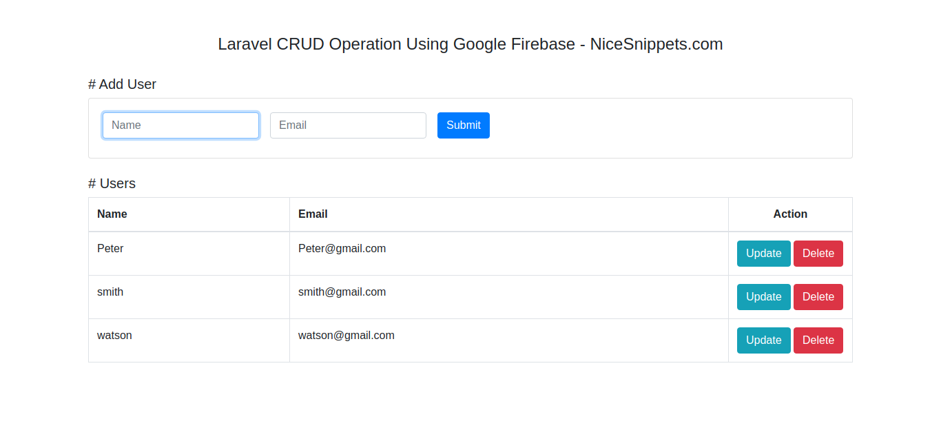 Laravel CRUD Operation Using Google Firebase