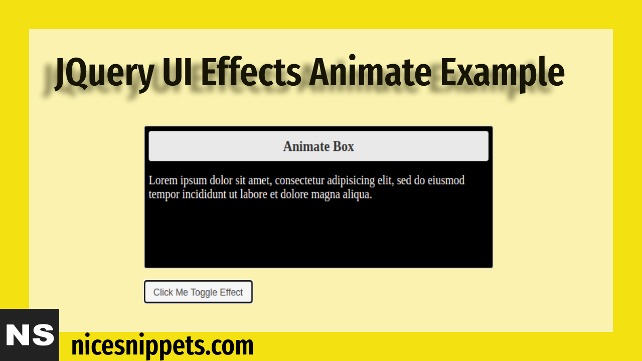 JQuery UI Effects Animation Tutorial | JQuery Effects Animation Example