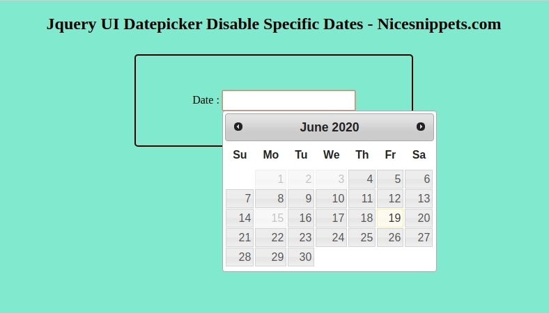 Jquery UI Datepicker Disable Specific Dates Example