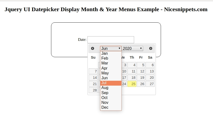 Jquery UI Datepicker - Display Month & Year Menus Example