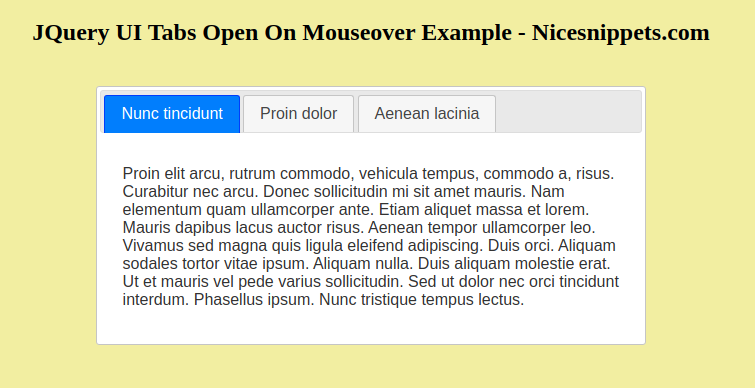 JQuery UI Tabs Open On Mouseover Example