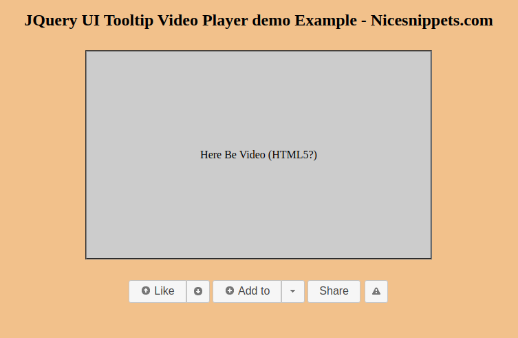 JQuery UI Tooltip Video Player Demo Example