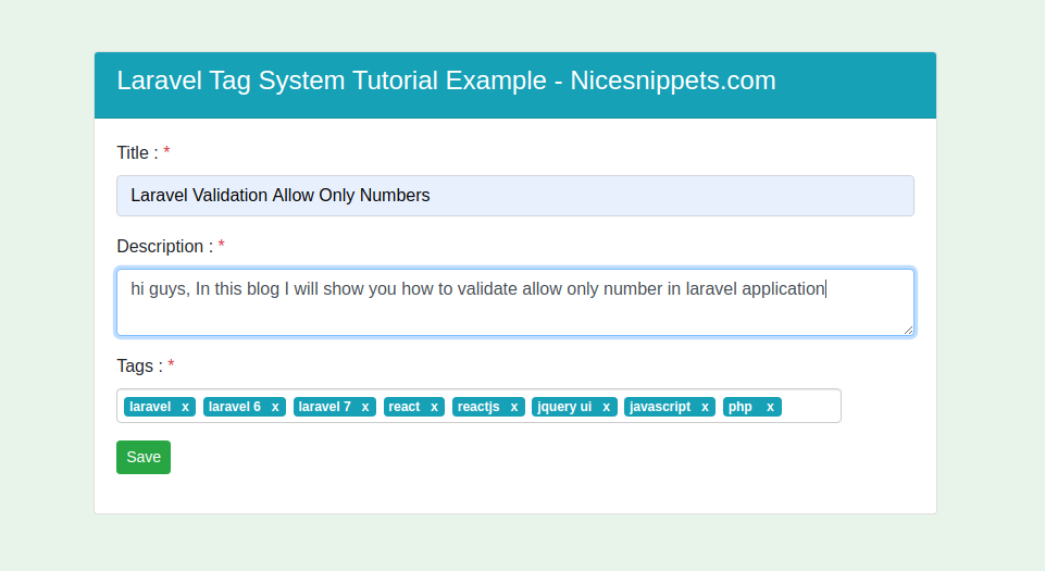 Laravel Tag System Tutorial Example