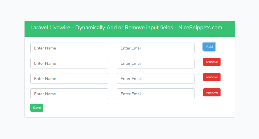 Laravel Livewire - Dynamically Add or Remove input fields