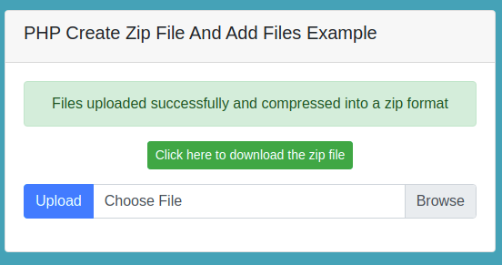 PHP Create Zip File And Add Files Example