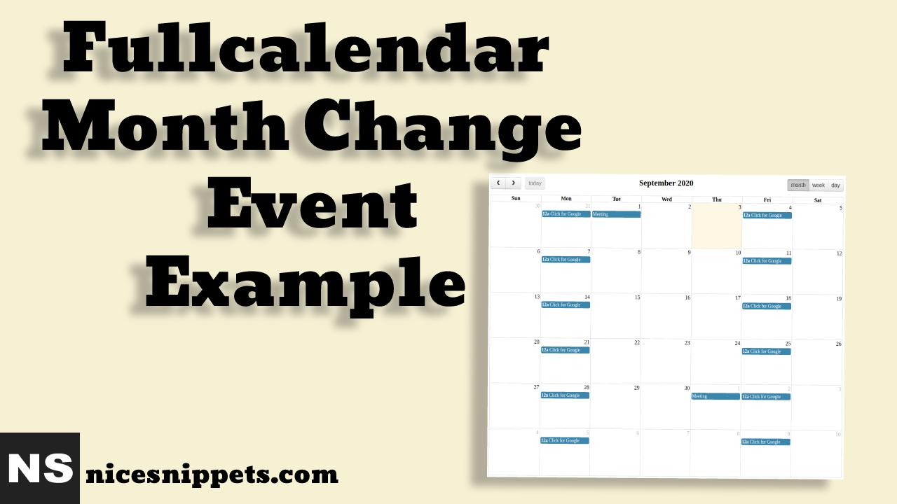 Fullcalendar Month Change Event Example