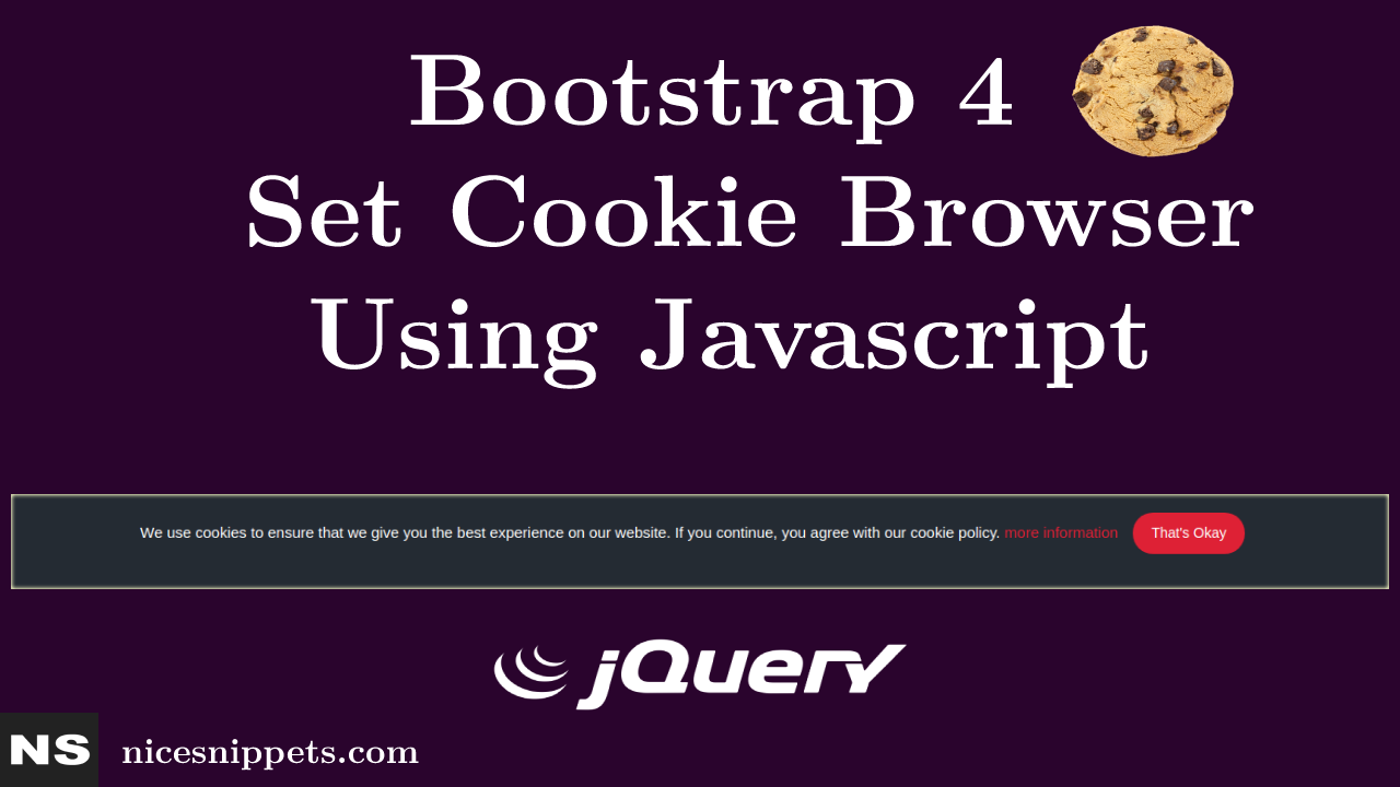 How to Set Cookie Browser Using Javascript Bootstrap 4 ?
