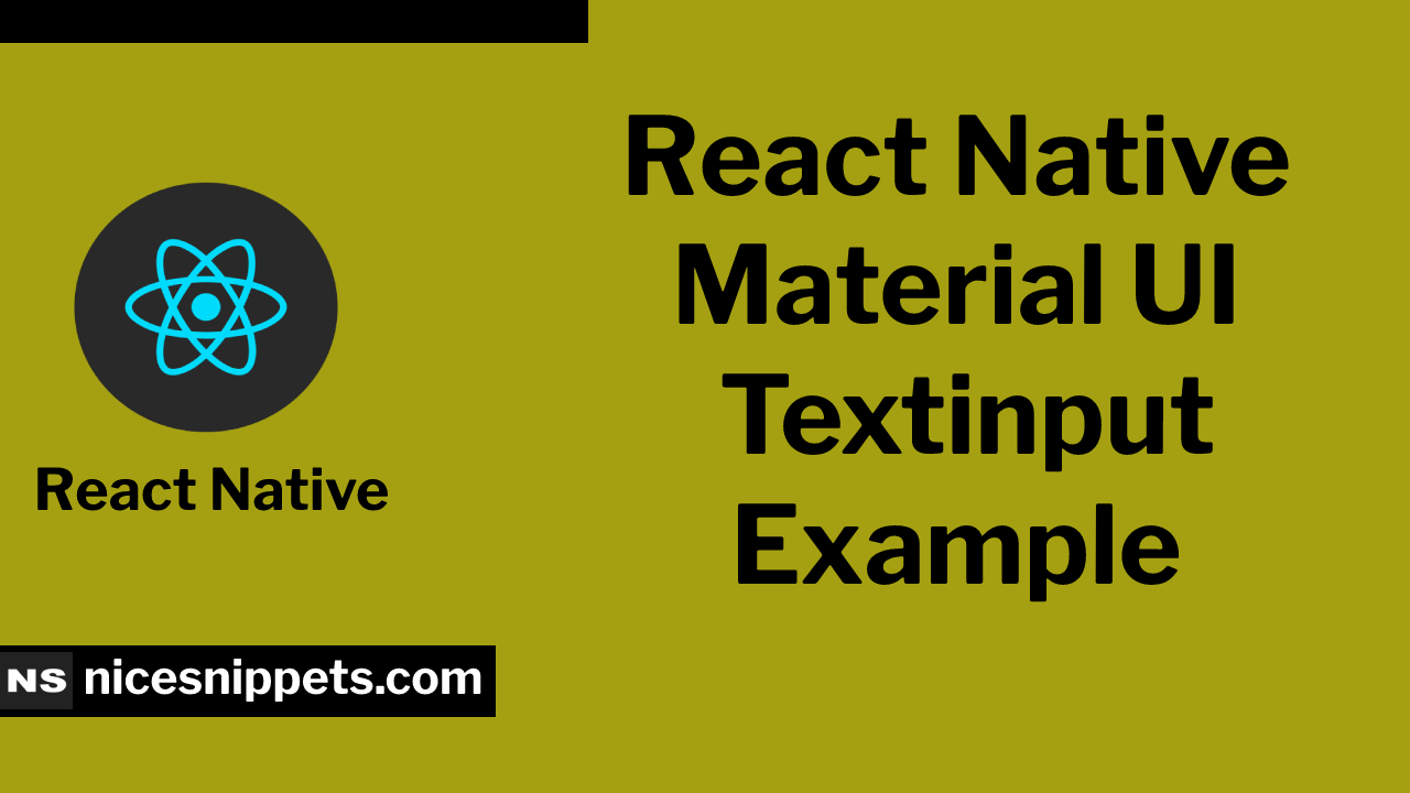 React Native Material ui Textinput Example