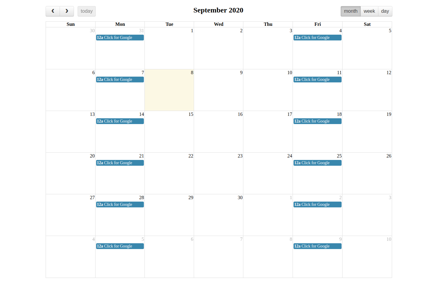 Fullcalendar Get Current View Date Example