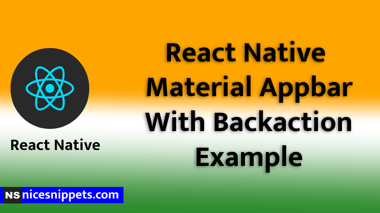 React Native Material Appbar With Backaction Example
