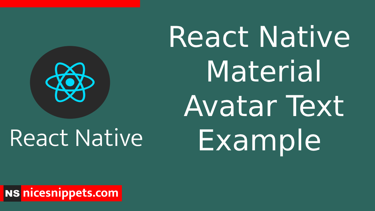 React Native Material Avatar Text Example