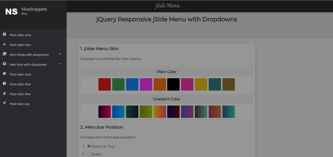 jQuery Responsive jSide Menu with Dropdowns