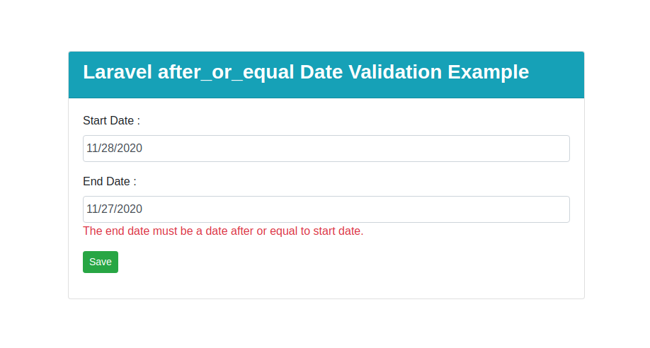 Laravel after_or_equal Date Validation Example