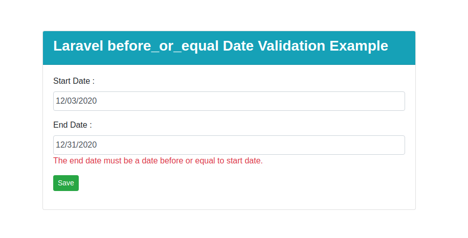 Laravel Before Or Equal Date Validation Example