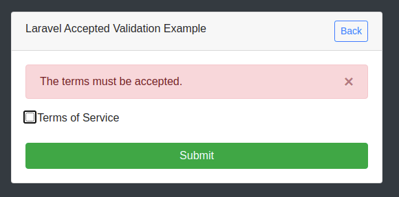 Laravel Validation Accepted Example
