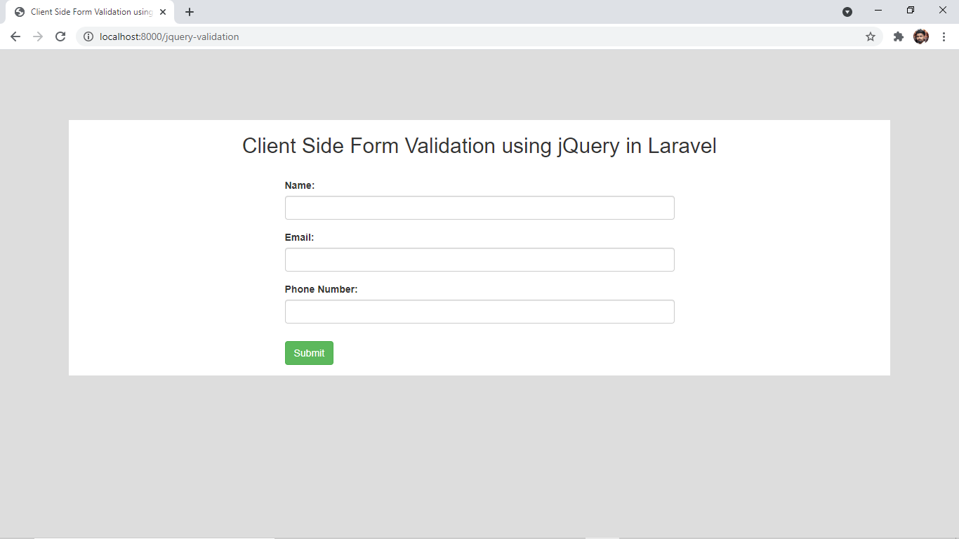 Laravel 8 Client Side JQuery Validation Example