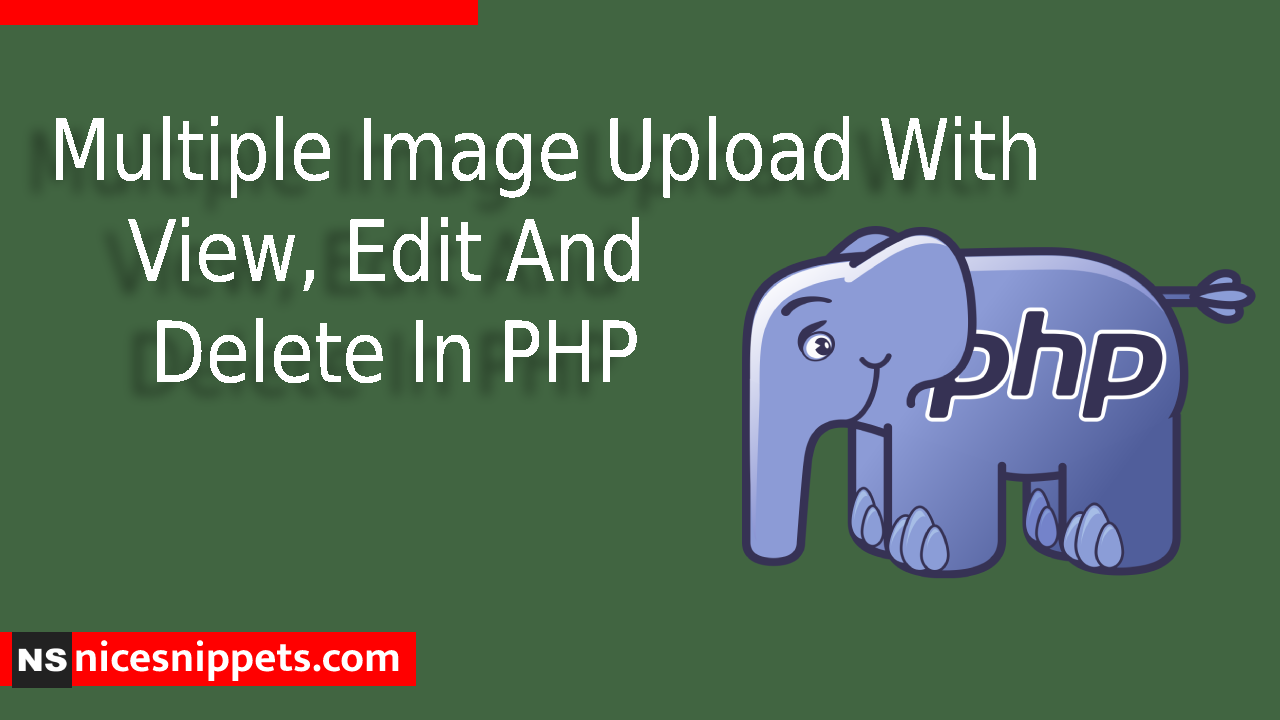 Multiple Image Upload With View, Edit And Delete In PHP Example