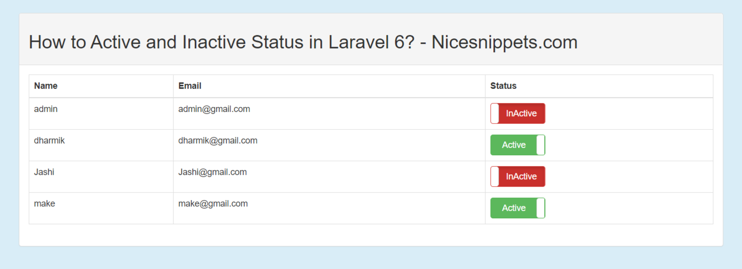 How to Active and Inactive Status in Laravel 7/6?