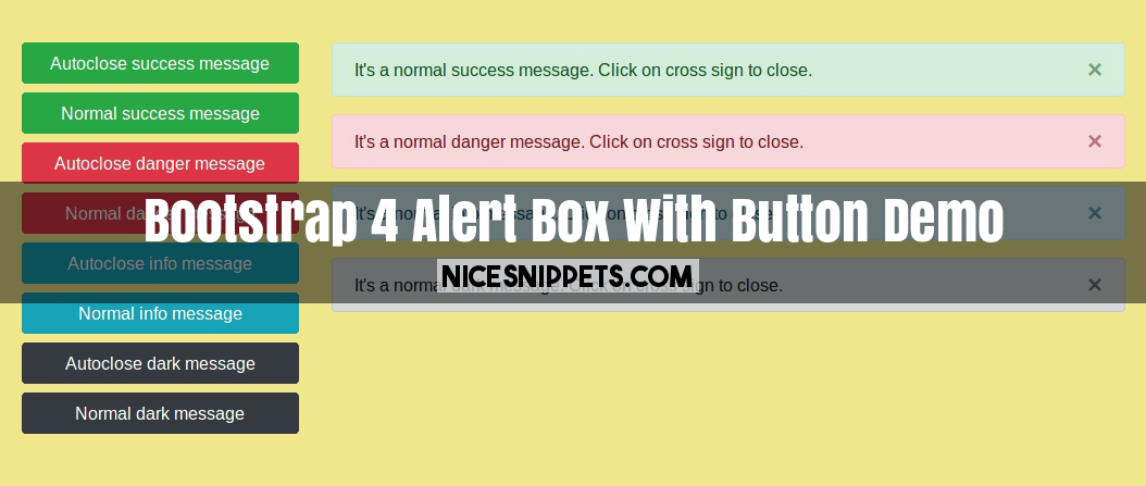 Bootstrap 4 Alert Box With Button Demo