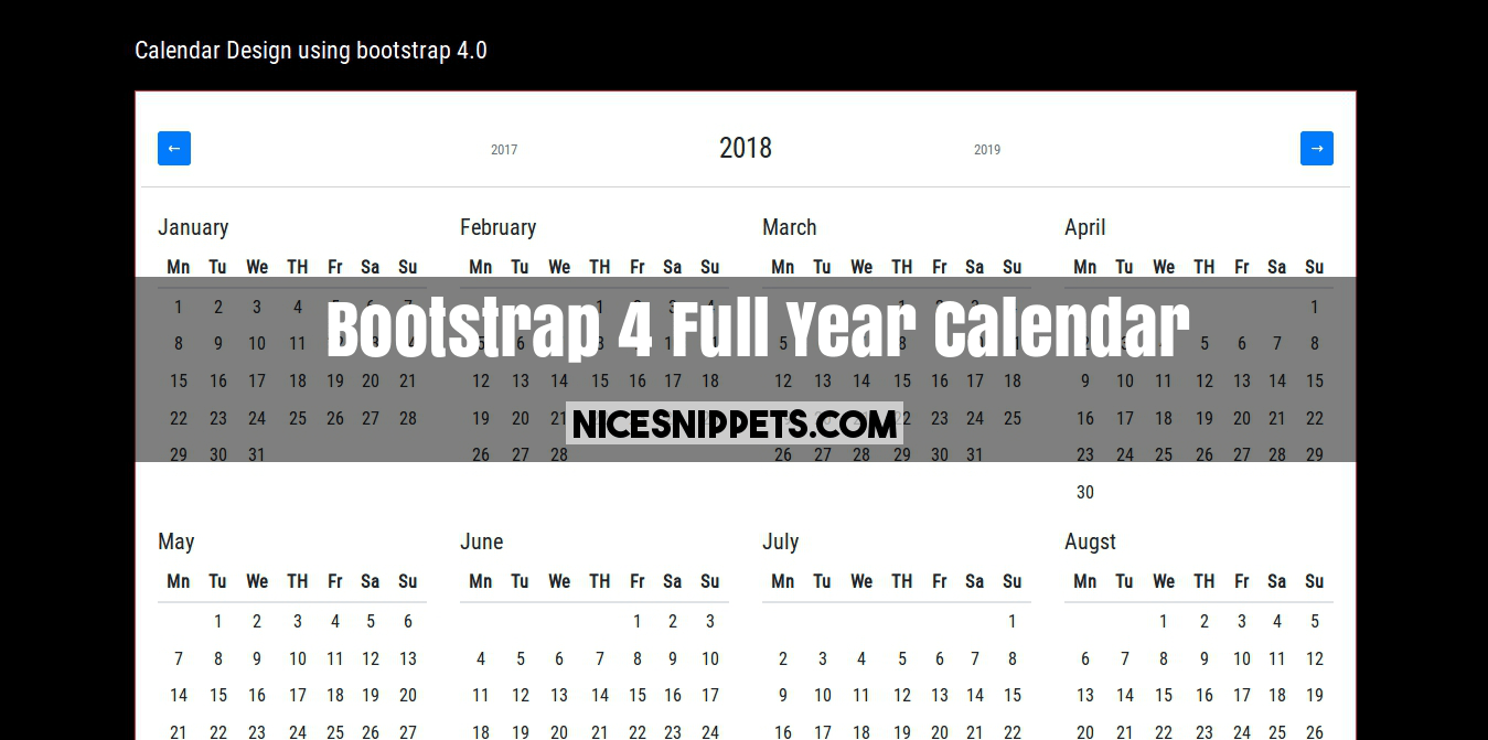 Bootstrap 4 All Year Calendar Example