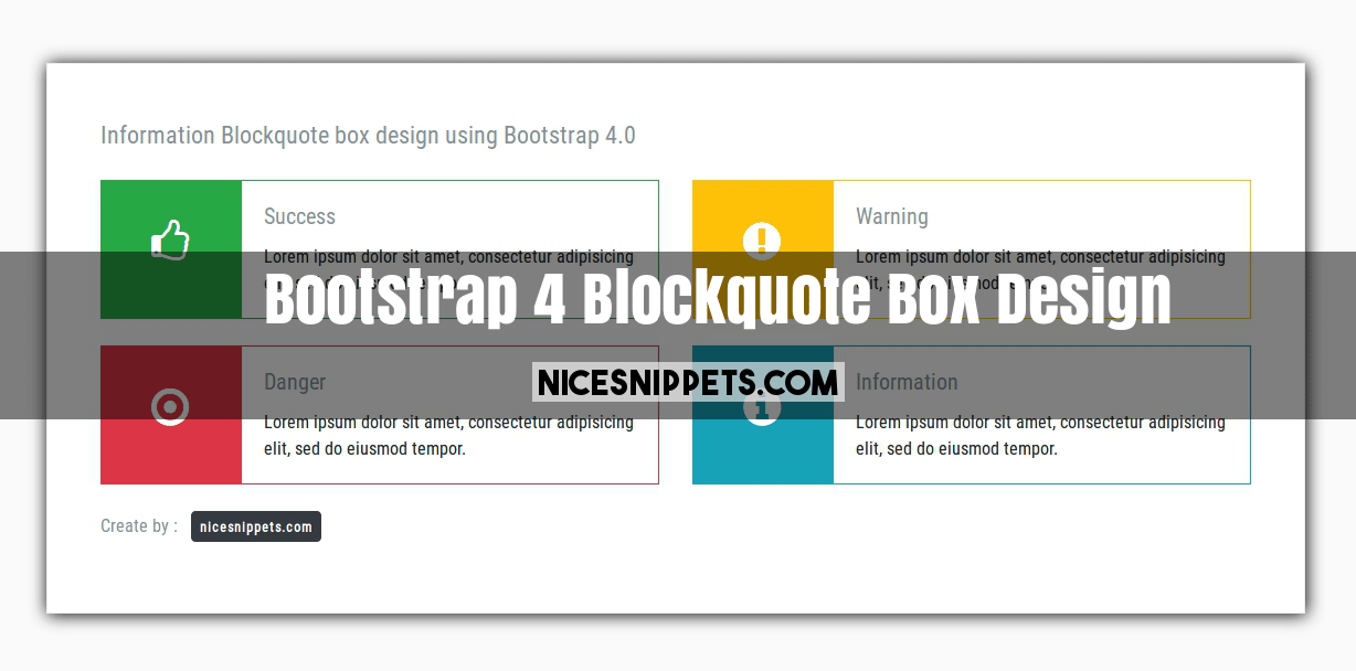Bootstrap 4 Blockquote Box Design With css