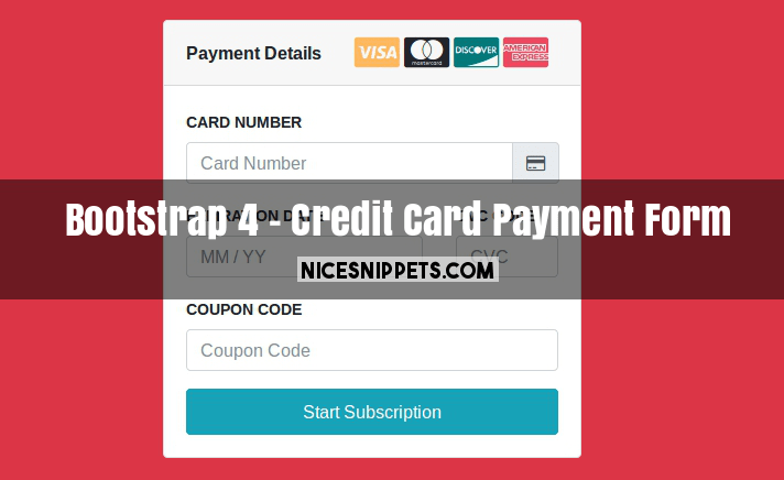 Bootstrap 4 Credit Card Payment With Stripe Form Design
