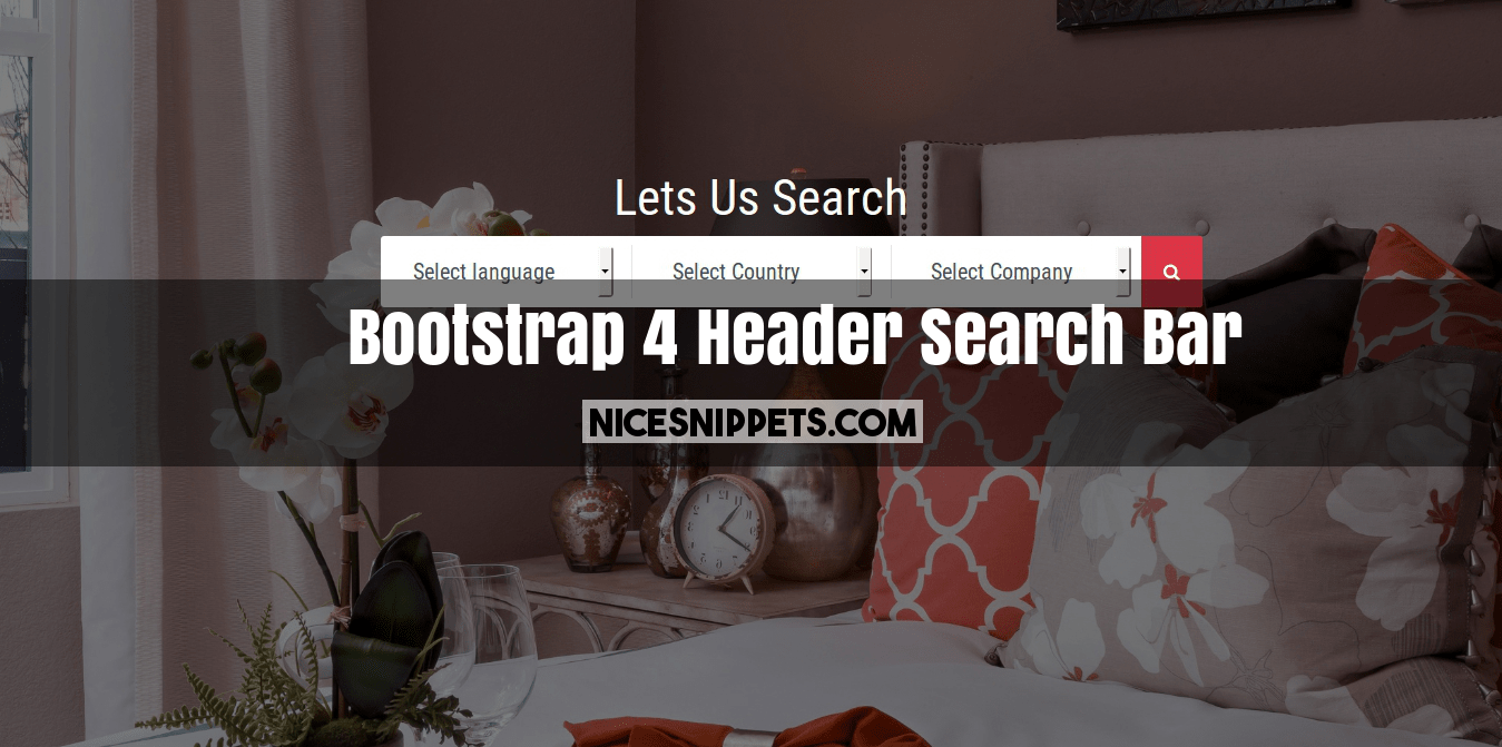 Bootstrap 4 Header Search Bar With Background Image