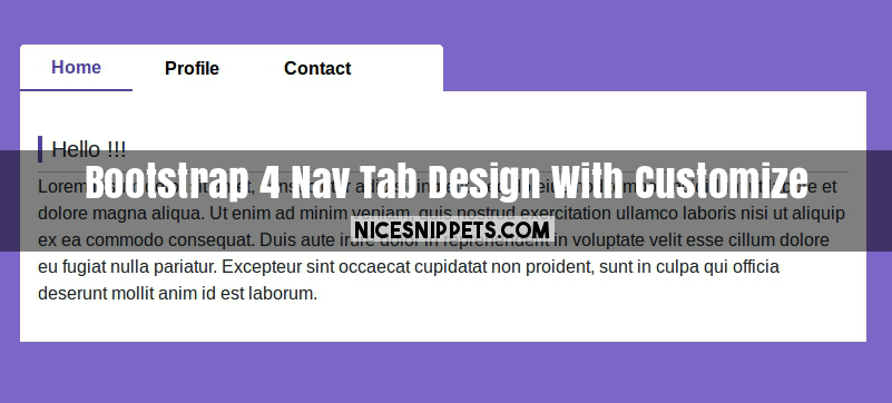 Bootstrap 4 Nav Tab Design With Customize