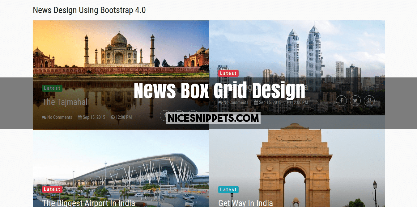 Bootstrap 4 News Box Grid Example
