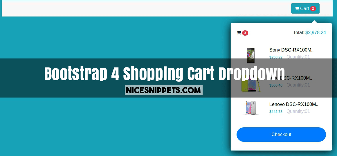 Bootstrap 4 Shopping Cart Dropdown In Header
