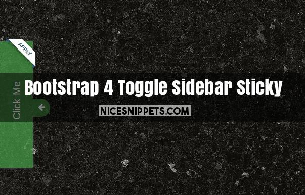 Bootstrap 4 Toggle Sidebar Sticky Button Example