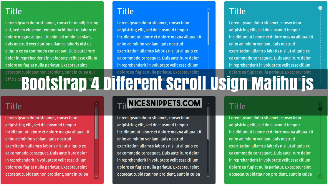 Bootstrap 4 with different style scroll demo usign malihu js - Bootstrap scroll to div ...