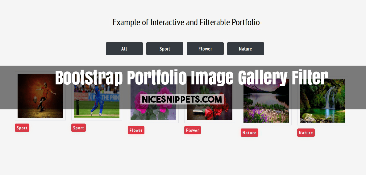 Bootstrap Portfolio Image Gallery Filter Using Filterable JS