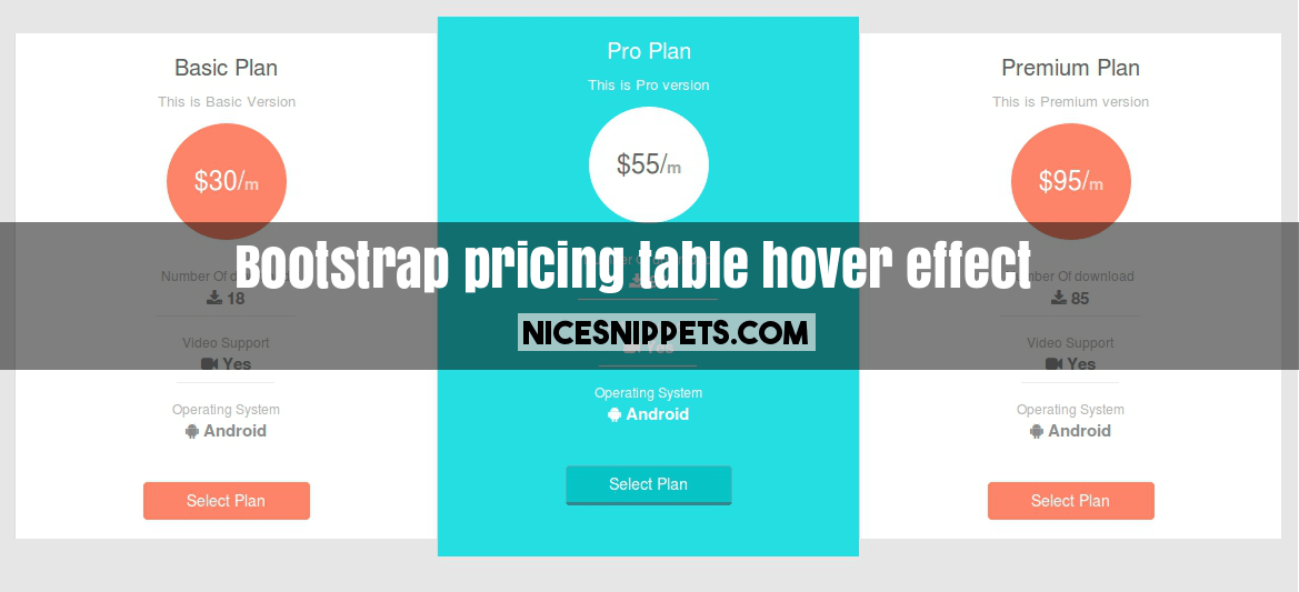 Bootstrap Responsive Pricing Table With Hover Effect Example