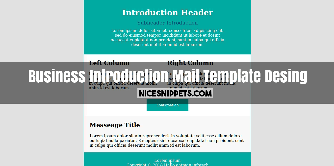 Business Introduction Mail Template Desing