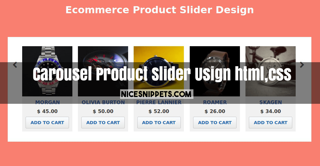 Carousel Product Slider Example Usign html,css