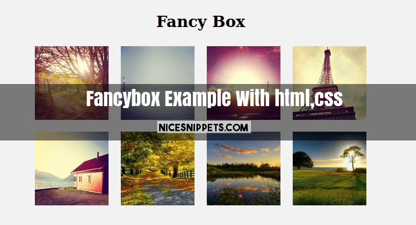 Fancybox Example With html,css