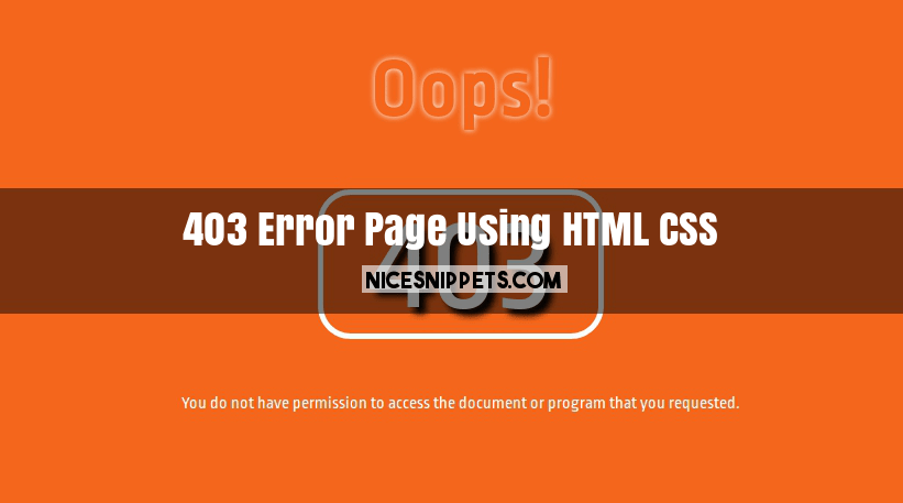 forbidden error 403 page design using html,css