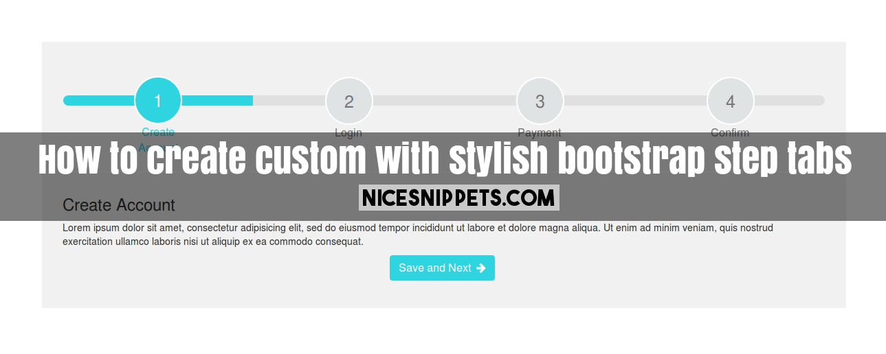 How to create custom with stylish bootstrap step tabs