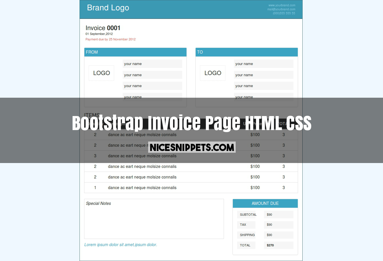 Invoice Page Design Using Html Css And Bootstrap